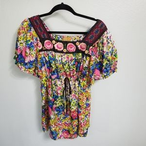 Johnny Was silk floral blouse Size S